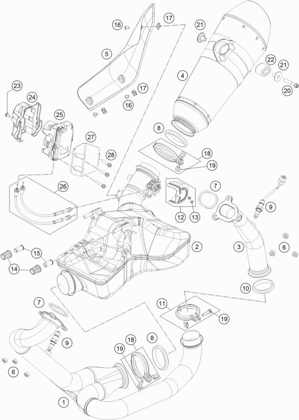 ktm fiche finder exhaust system spare parts for the ktm 1290 super KTM X-Bow R exhaust system